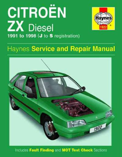Citroen Zx Diesel 1991 1998 Haynes Service Repair Manual border=