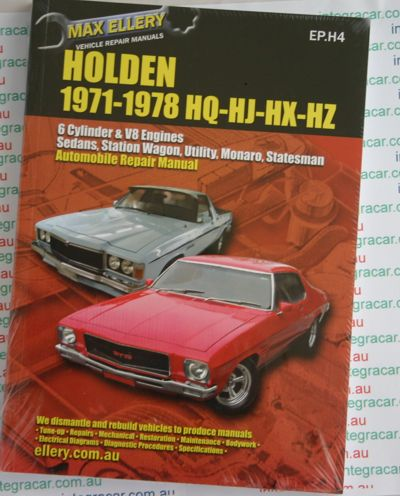 Holden HOLDEN 1971-78 HQ HJ HX HZ repair manual  - Ellery NEW