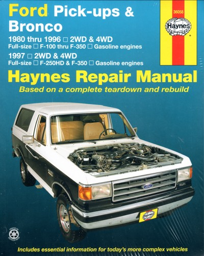 Ford Pick ups Bronco 1980 1996 Haynes Service Repair Manual