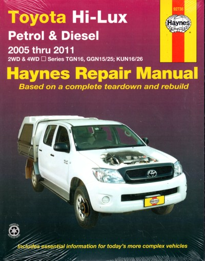 Toyota Hi-Lux Petrol and Diesel 2WD and 4WD 2005 - 2015 Haynes repair workshop manual NEW
