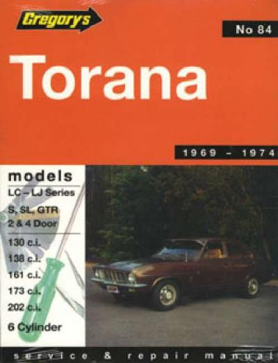 Holden Torana LC LJ 6 cylinder 1969 1974 Gregorys Service Repair Manual