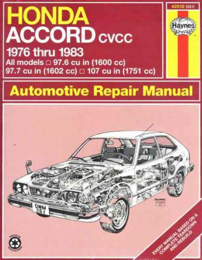 Honda Accord 1976 1983 Haynes Service Repair Manual