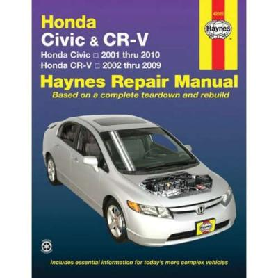 Honda civic cr v crv 2001 2010 haynes service repair for Honda car repair