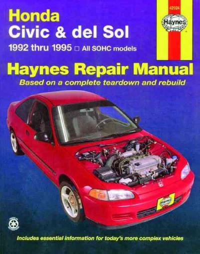 Honda civic del sol 1992 1995 haynes service repair manual for Honda car repair