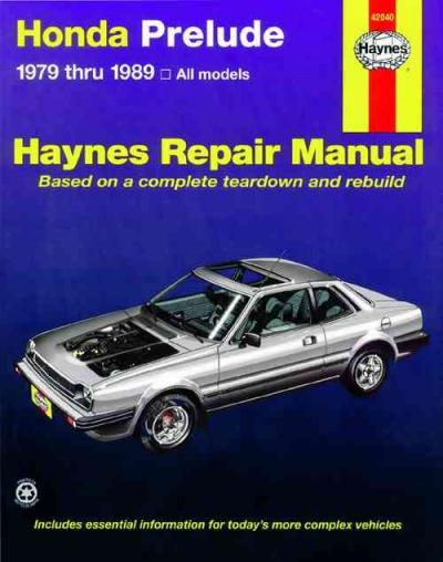 Honda prelude cvcc 1979 1989 haynes service repair manual for Honda car repair