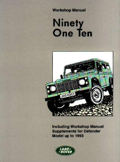 Land Rover 90 110 Defender Workshop Manual Including Supplements for Defender up to 1993   Brookland