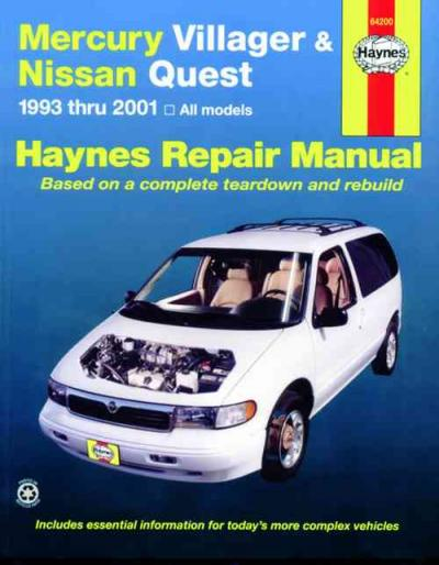 Mercury Villager Nissan Quest 1993 2001 Haynes Service Repair Manual