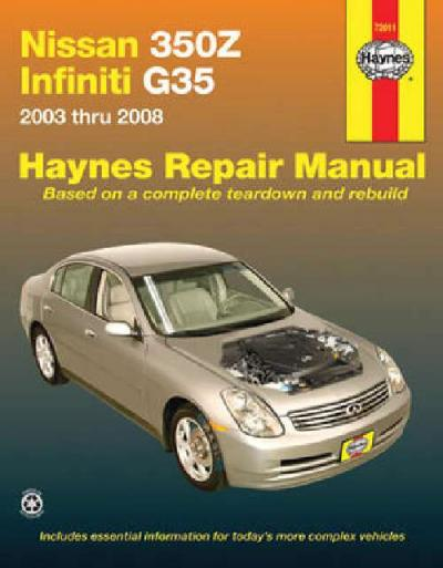 nissan 350z infiniti g35 2003 2008 haynes service repair. Black Bedroom Furniture Sets. Home Design Ideas