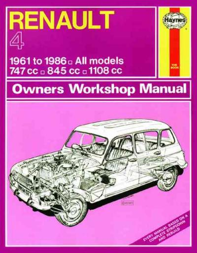 Renault 4 1961 1986 Haynes Service Repair Manual