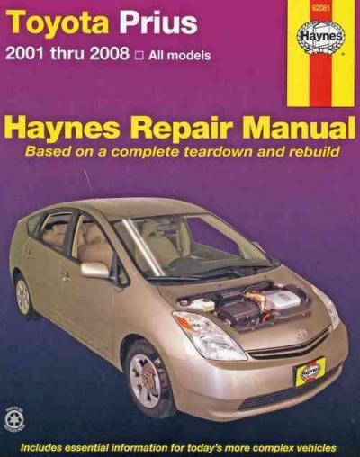 toyota prius 2001 2008 haynes service repair manual. Black Bedroom Furniture Sets. Home Design Ideas