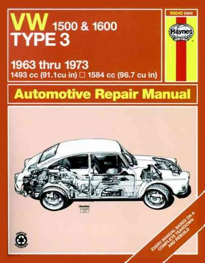 Volkswagen VW Type 3 1500 1600 1963 1973 Haynes Service Repair Manual