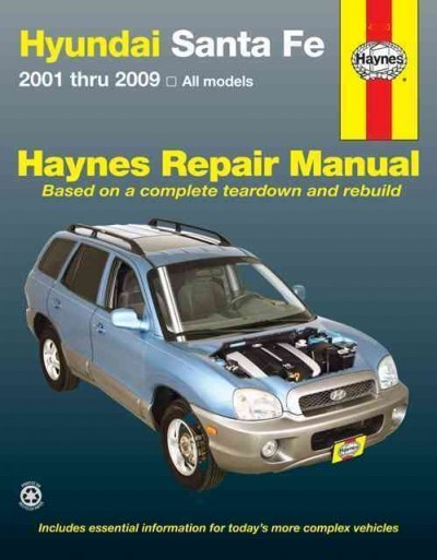 hyundai santa fe 2001 2009 haynes service repair manual. Black Bedroom Furniture Sets. Home Design Ideas