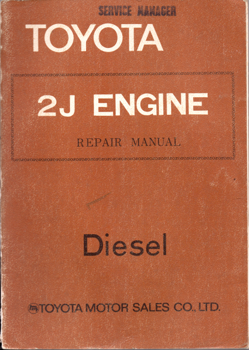 Toyota 2J Diesel engine workshop repair manual USED