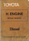 Toyota H engine workshop repair manual USED