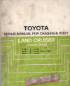 Toyota Landcruiser FJ62 FJ70 FJ73 FJ75 BJ HJ60 HJ75 Chassis/Body genuine repair manual USED