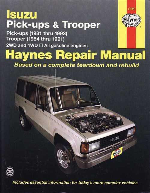 Isuzu Pick Ups Trooper Holden Jackaroo Rodeo Petrol 1981