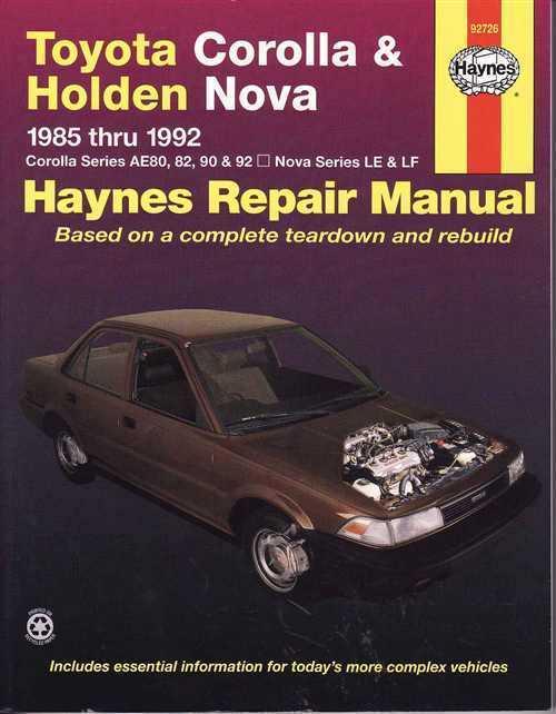 Toyota Corollas Ae92 93 Holden Nova Le Lf 1989 1994